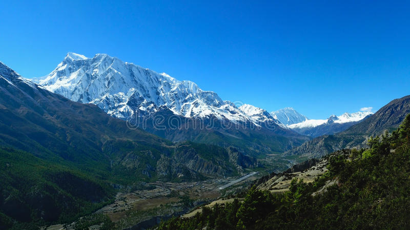 Annapurna Circuit Trek panoramic view of Annapurna and Gangapurna stock images