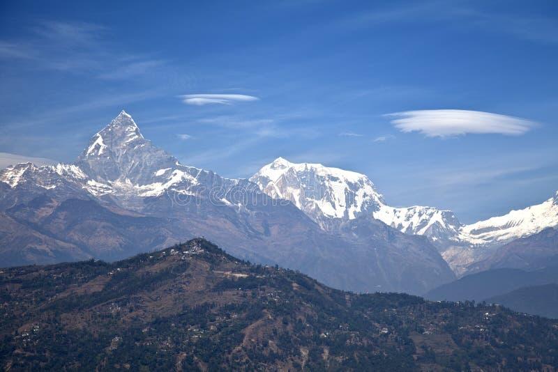 annapurna dhaulagiri喜马拉雅manaslu山 免版税库存照片