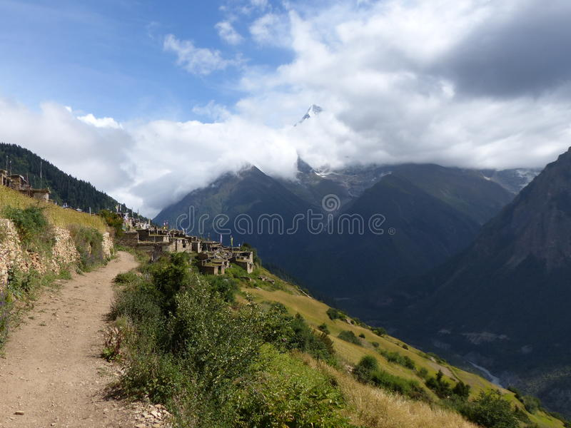 Annapurna 2 and Ghyaru village royalty free stock images