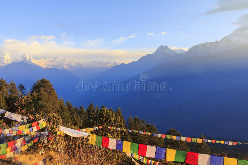 Annapurna and Himalaya mountain in sunrise, Poonhill, Nepal stock image
