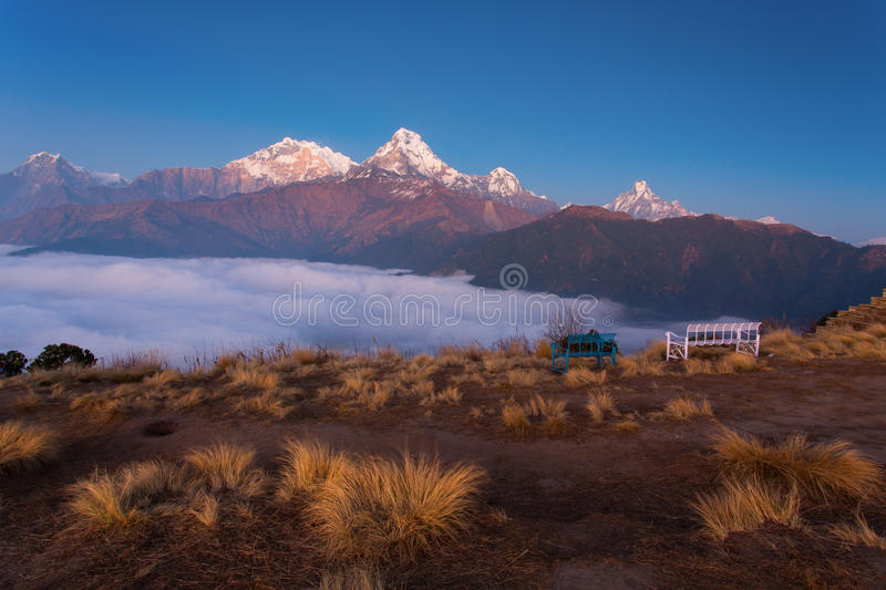 Annapurna I Himalaya Mountains View from Poon Hill 3210m at sunr royalty free stock photo