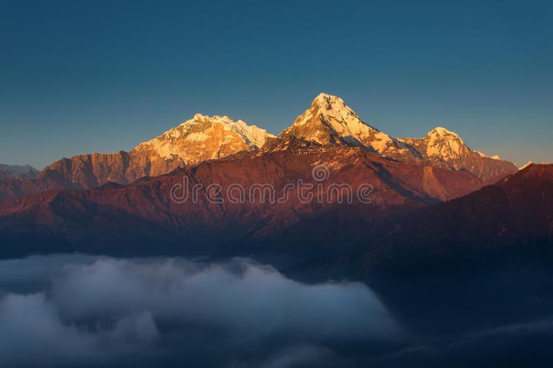Annapurna I Himalaya Mountains View from Poon Hill 3210m at suns stock photos