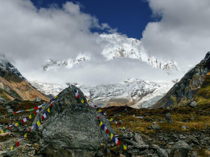 Annapurna I von niedrigem Lager Annapurna stockbilder