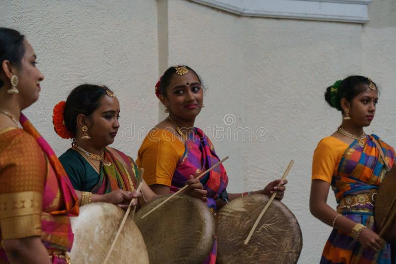 Annapurna Indian Dance Performers Playing Drums. stock images