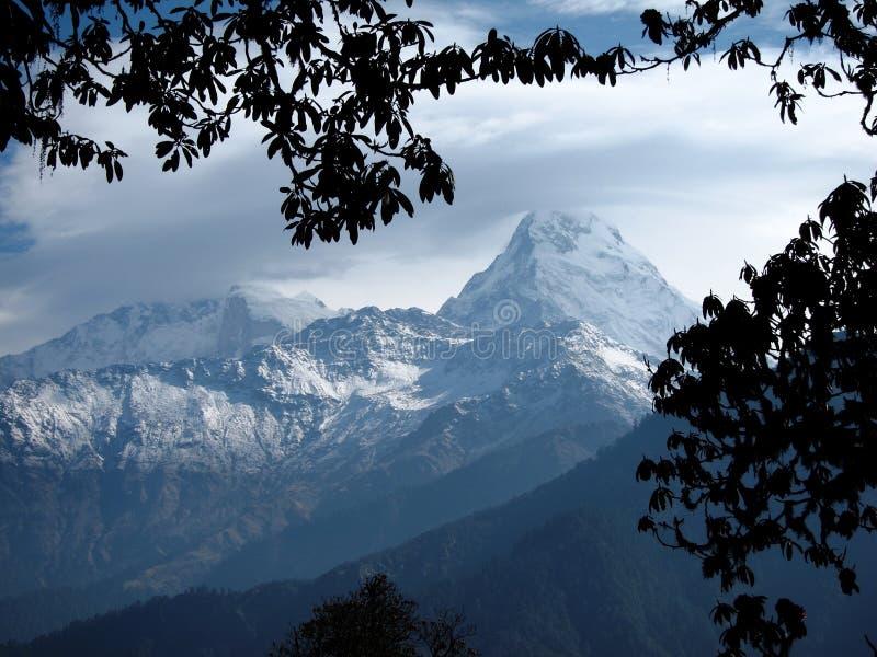 Annapurna 8091m en Annapurna-Zuiden 7219m stock afbeeldingen