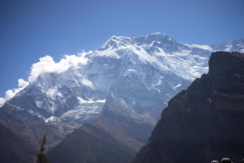 Annapurna Peak and pass in the Himalaya mountains, Annapurna region, Nepal royalty free stock photos