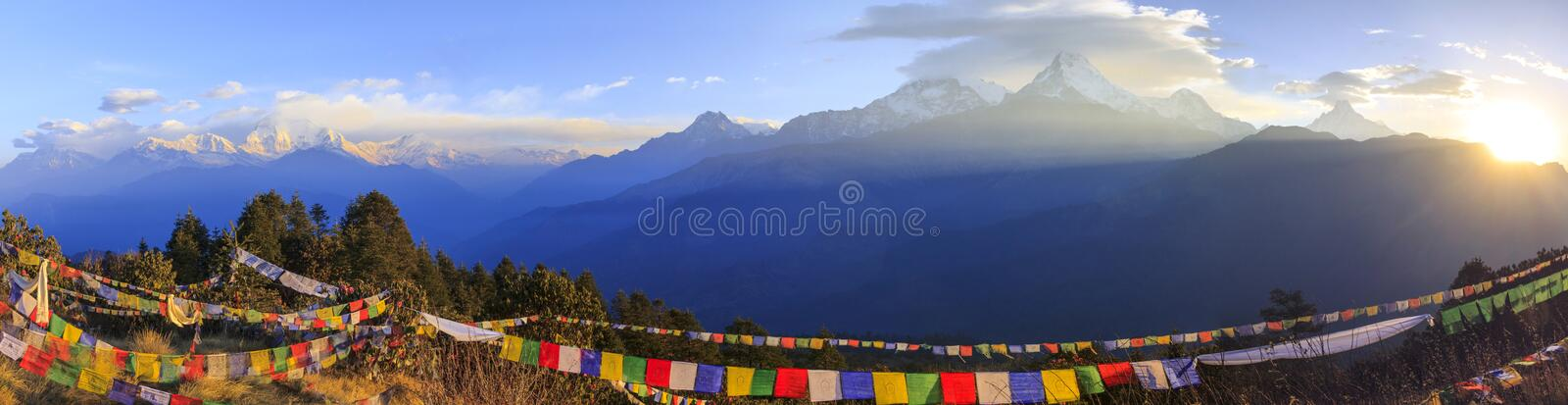Himalaya sunrise and Annapurna mountain range in panorama, Poonhill, Nepal royalty free stock image