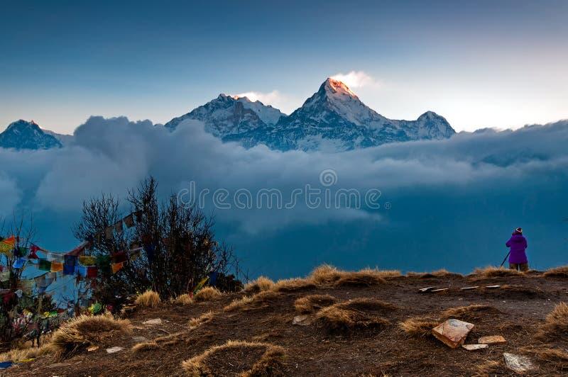 Annapurna Mountain View de Poon Hill fotos de archivo