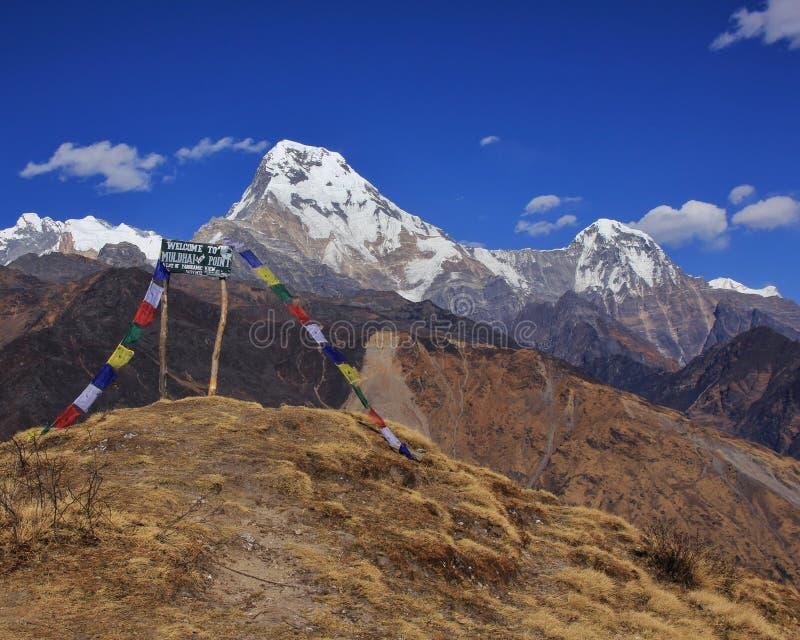 Annapurna południe Chuli i Hiun, widok od Muldhai wzgórza zdjęcie royalty free