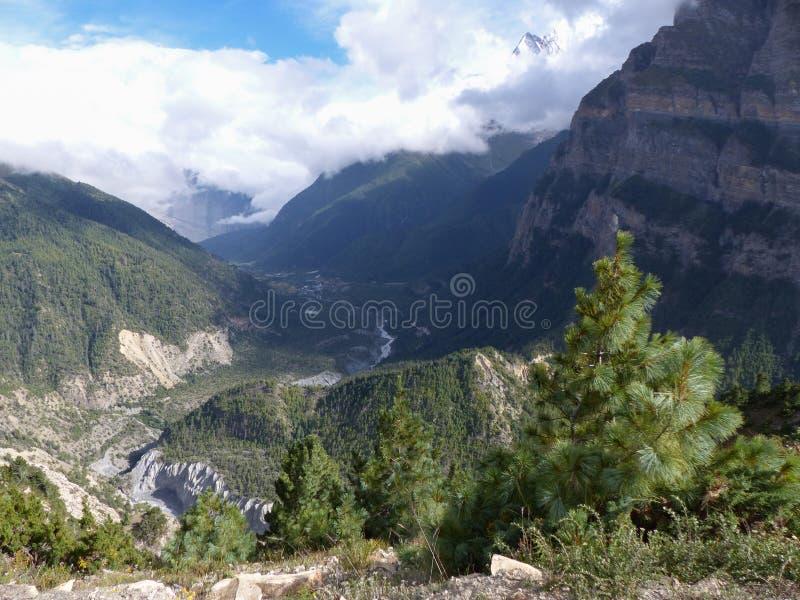 Annapurna and river Marsyangdi royalty free stock photo