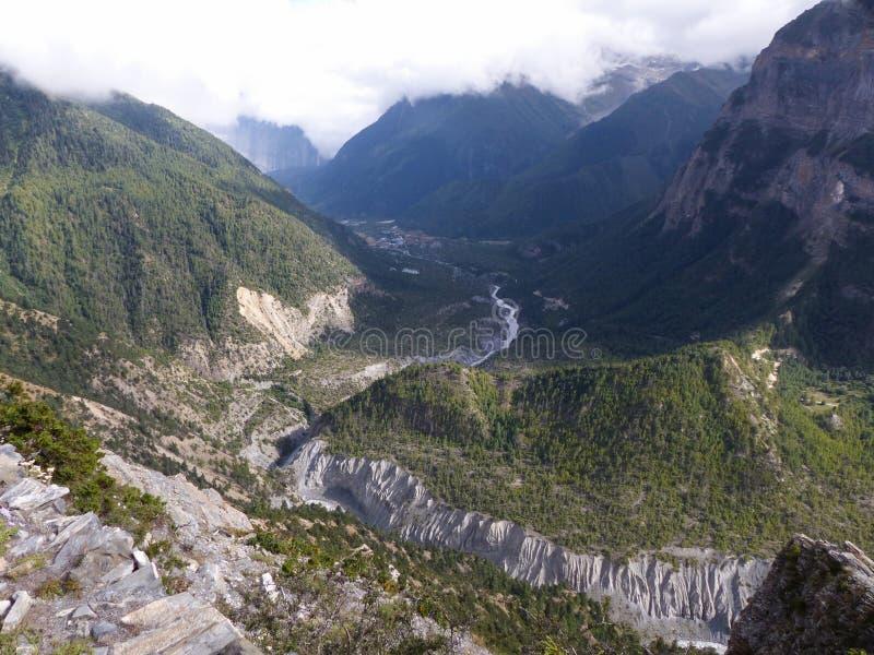Annapurna and river Marsyangdi royalty free stock photos