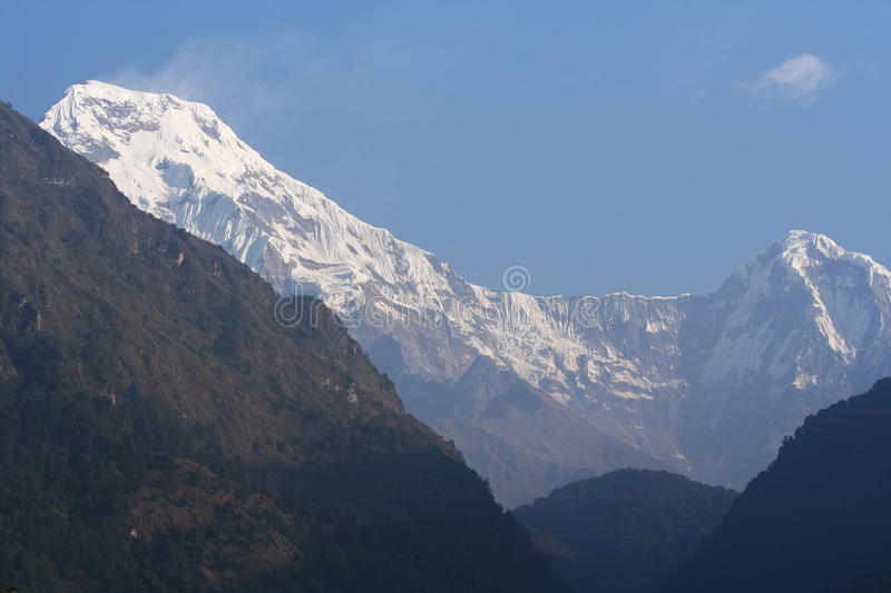 Annapurna South and Hiunchuli Peak at Sunrise royalty free stock photography