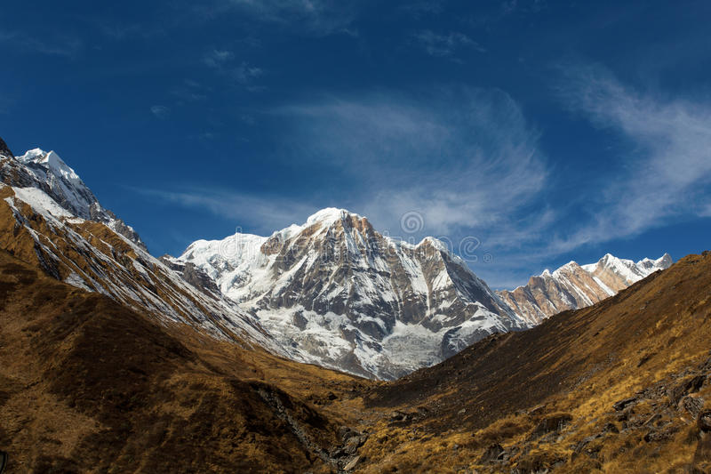 Annapurna South peack in the Nepal Himalaya - view from Annapurn royalty free stock images