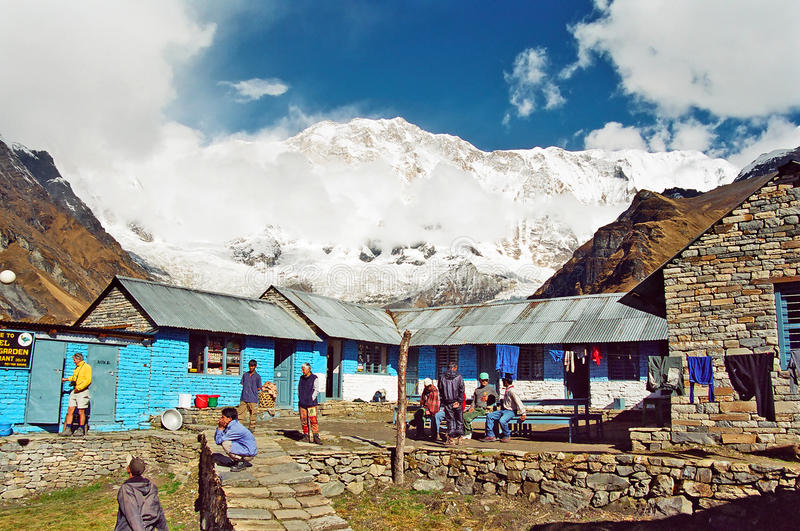 annapurnabasläger nepal royaltyfria foton