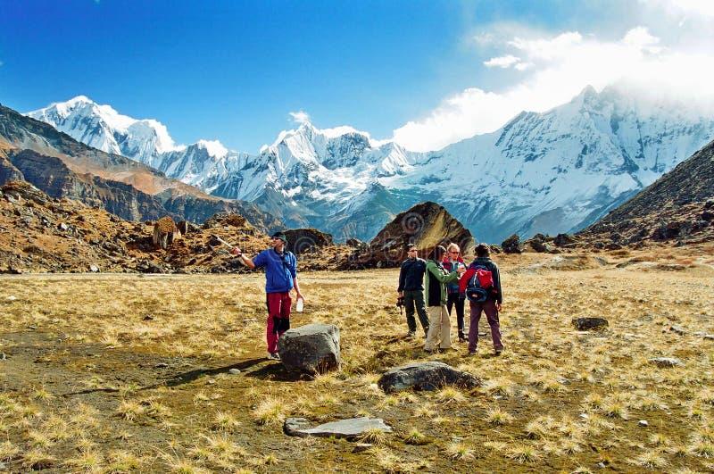 annapurnabasläger nepal arkivbilder