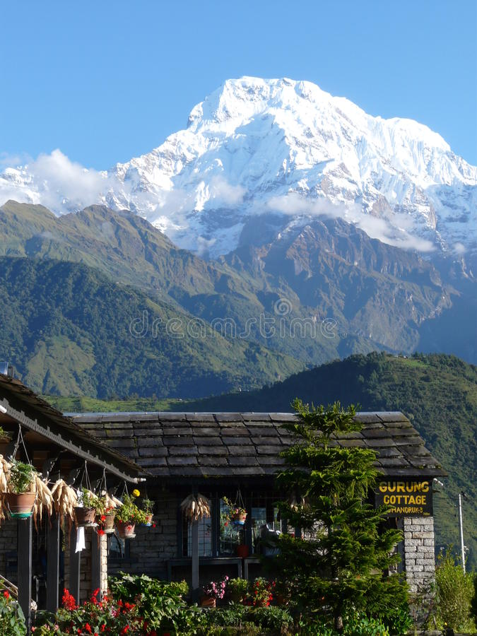 Annapurnas peak on a sunny day. royalty free stock images