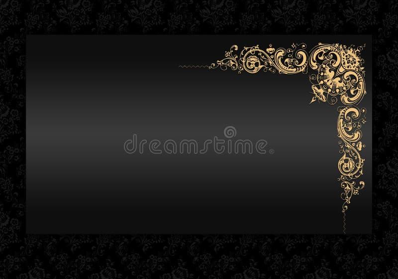 Annata antica dell'oro e del nero. illustrazione di stock