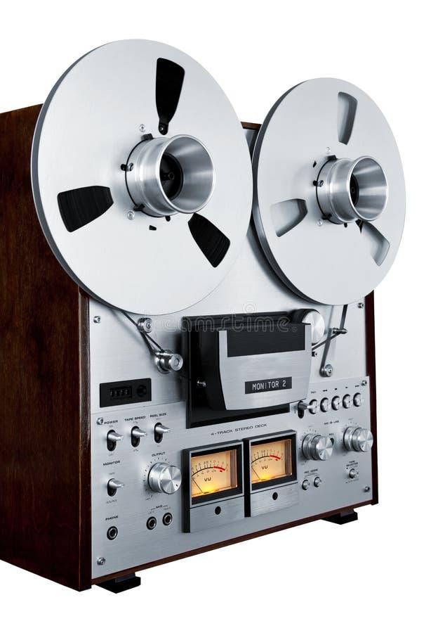 Annata aperta del registratore della piastra di registrazione della bobina di stereotipia analogica isolata fotografia stock libera da diritti