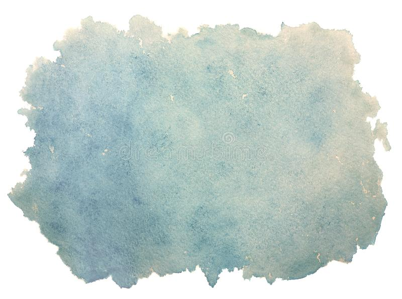 Annata blu astratta, retro vecchio fondo dell'acquerello isolato su bianco fotografia stock