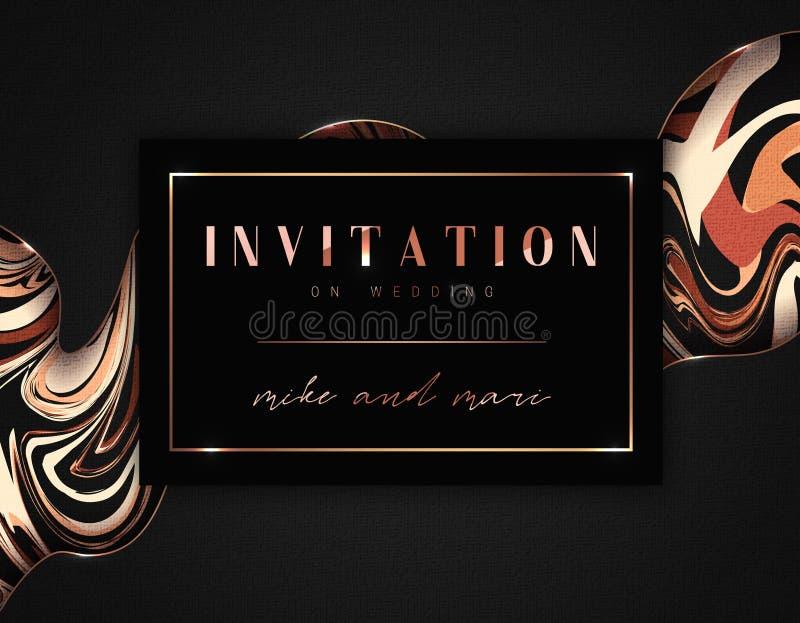 Annata degli inviti di nozze, struttura dorata, retro struttura Carta con un fondo astratto per la festa illustrazione di stock