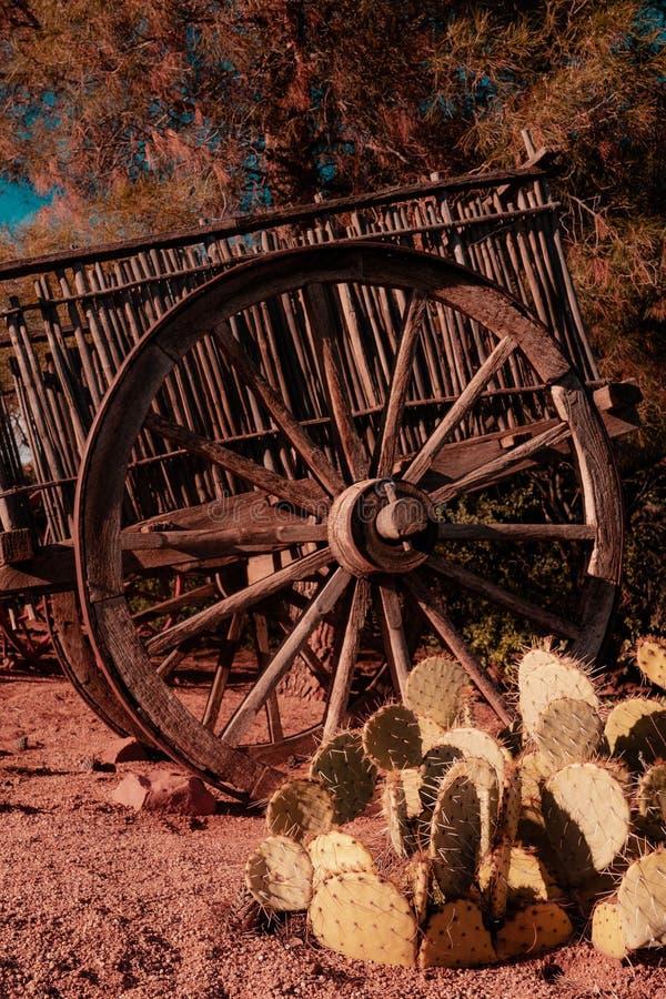 Annata del caravan della ruota di vagone di selvaggi West retro immagine stock