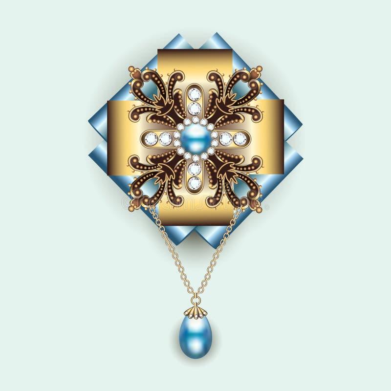Annata del pendente della fibula con i gioielli royalty illustrazione gratis