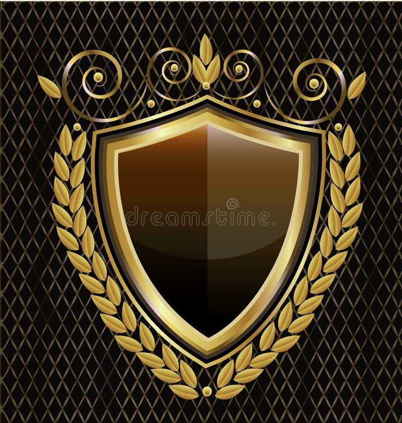 Annata dell'emblema dello schermo dell'oro, vettore dell'icona illustrazione vettoriale
