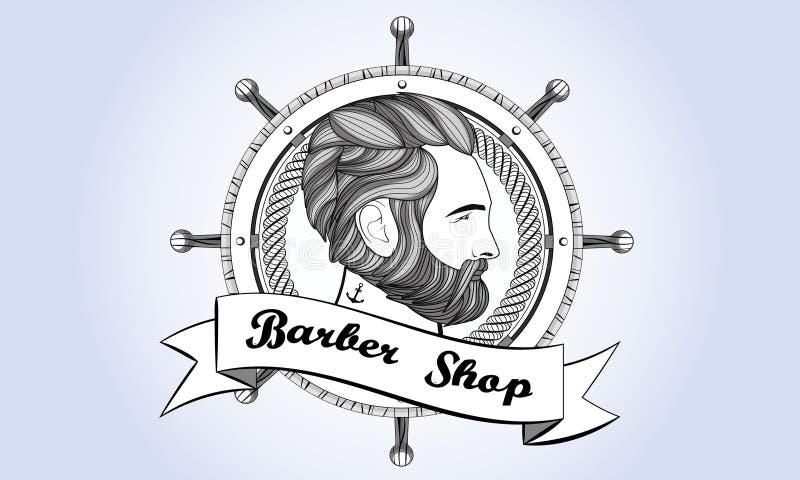 Annata della barba dell'uomo di Barber Shop Logo retro illustrazione vettoriale