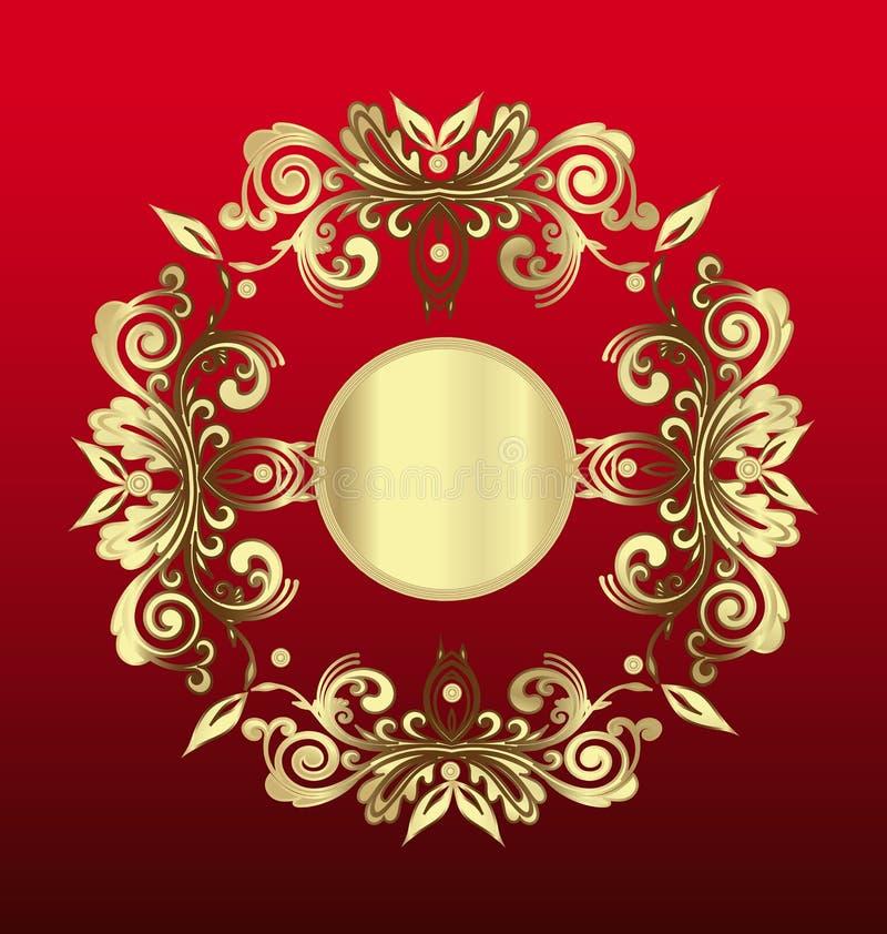 Annata della decorazione floreale dell'oro illustrazione di stock