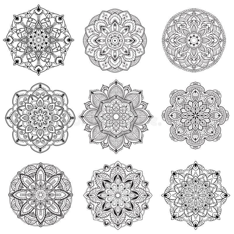 Annata di colore del nero della mandala del fiore decorativa royalty illustrazione gratis