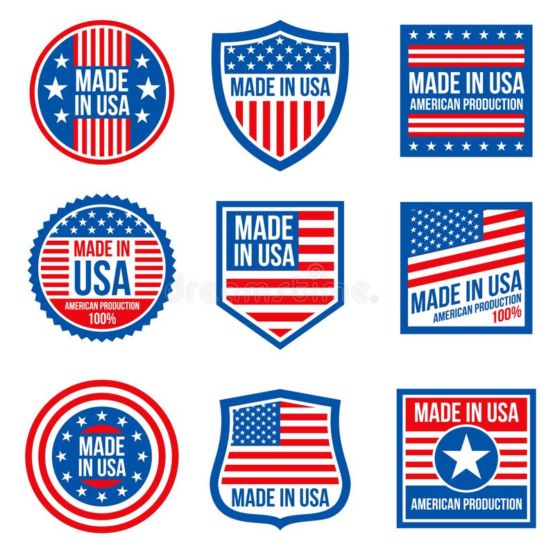 Annata fatta nei distintivi di vettore degli S.U.A. Icone patriottiche americane illustrazione di stock