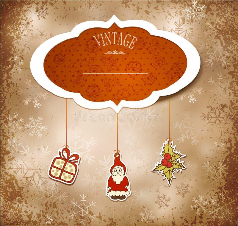 Annata, nuovo anno grungy, priorità bassa di natale illustrazione di stock
