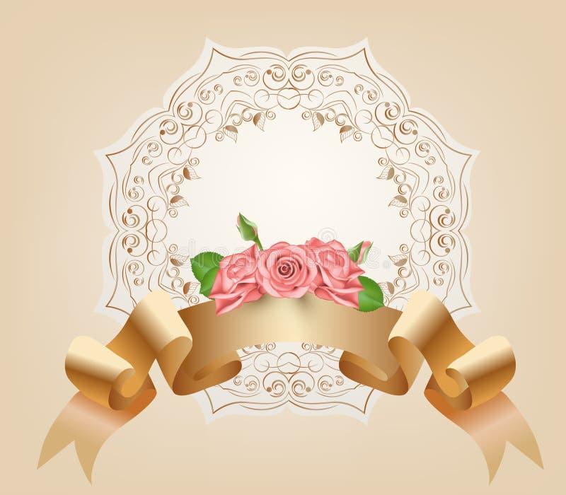 Annata, pastello, nastro decorativo con i fiori, rose rosa Vettore Rotolo del papiro e della pergamena sull'ornamentale royalty illustrazione gratis
