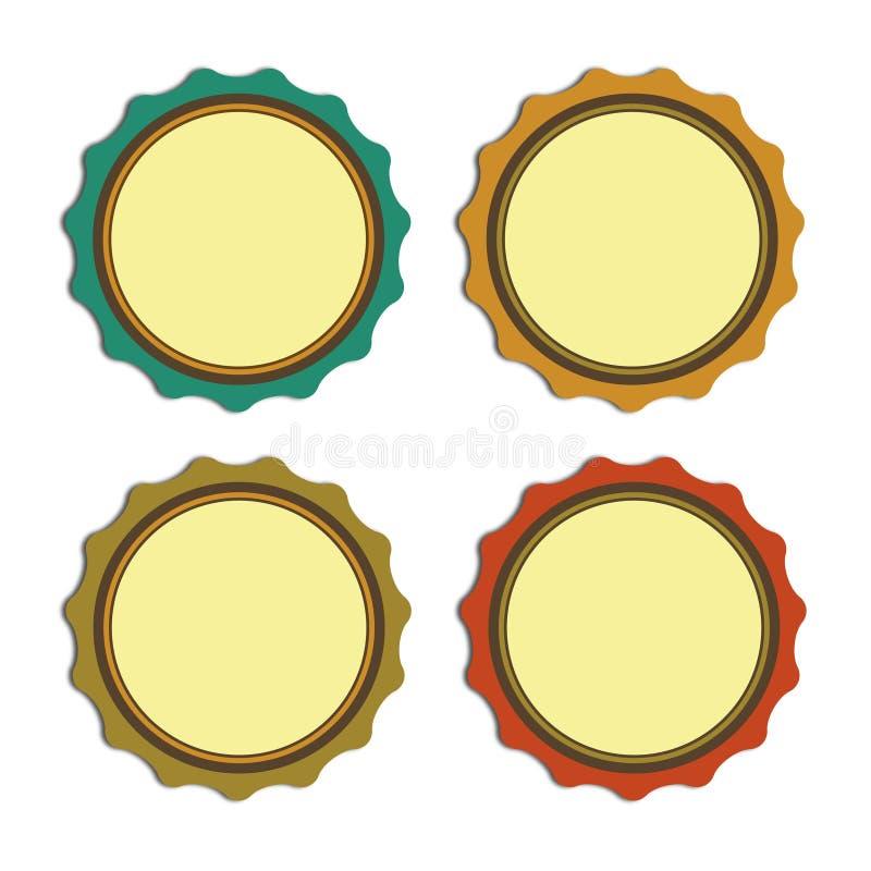 Annata, promozioni o qualità dell'etichetta del cerchio illustrazione vettoriale