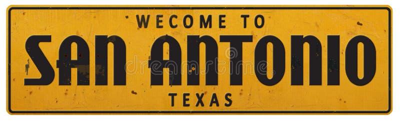 Annata Rerto di San Antonio Texas Street Sign Grunge Rustic fotografie stock
