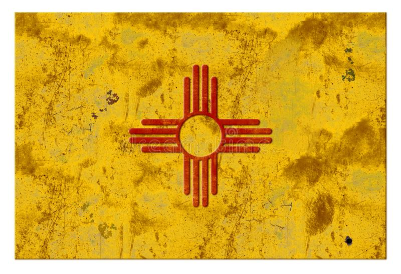 Annata rustica di Albuquerque di lerciume della bandiera del New Mexico fotografie stock