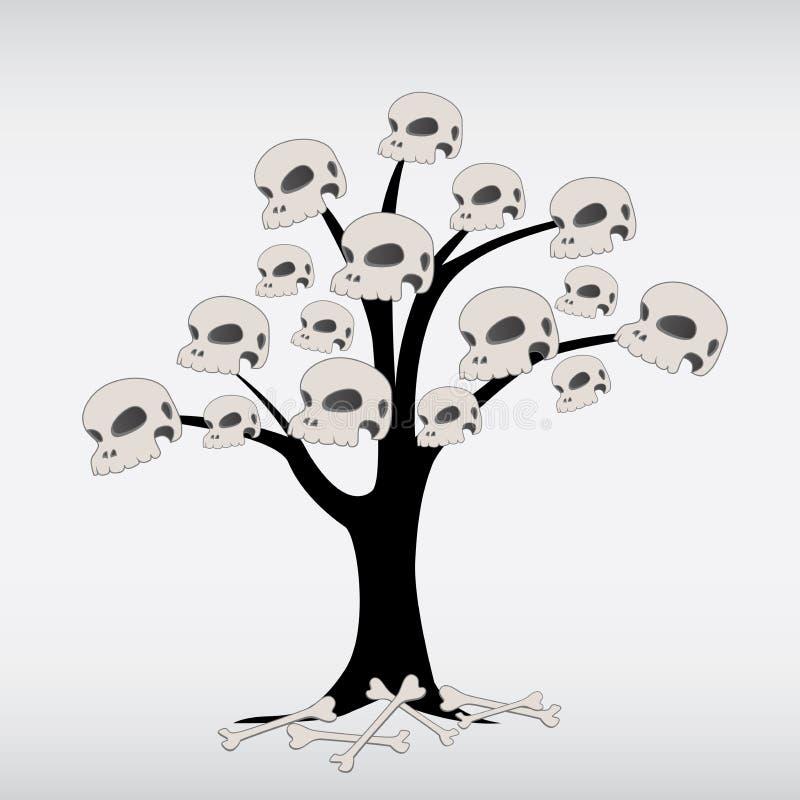 Annata scura dell'albero dell'essere umano e dell'osso del cranio  illustrazione vettoriale