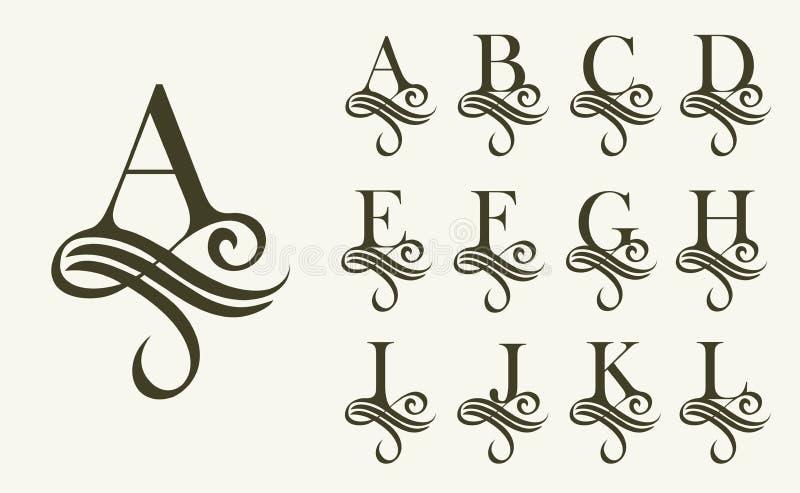 Annata Set1 Lettera maiuscola per i monogrammi ed il logos Bella fonte a filigrana Stile vittoriano illustrazione vettoriale