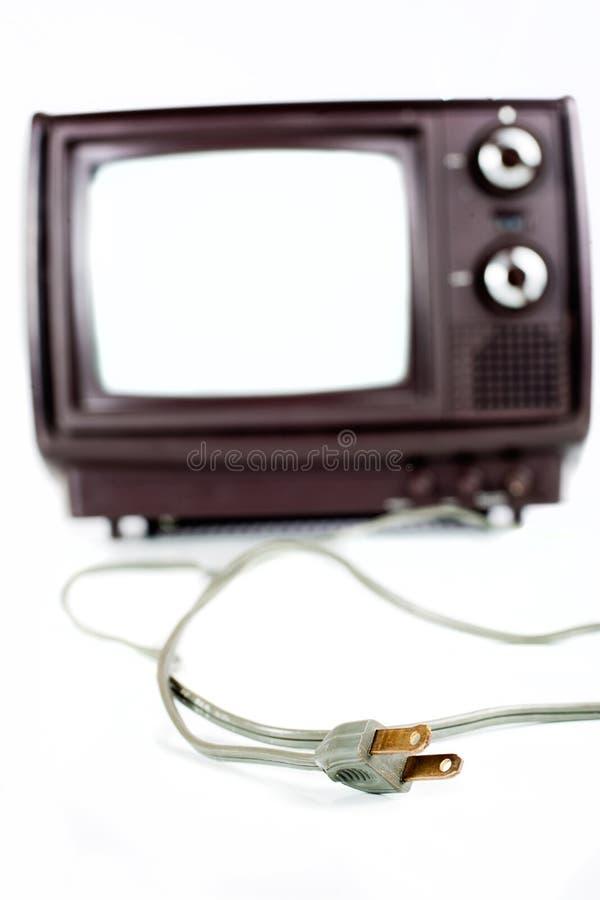 Annata TV su bianco fotografia stock libera da diritti