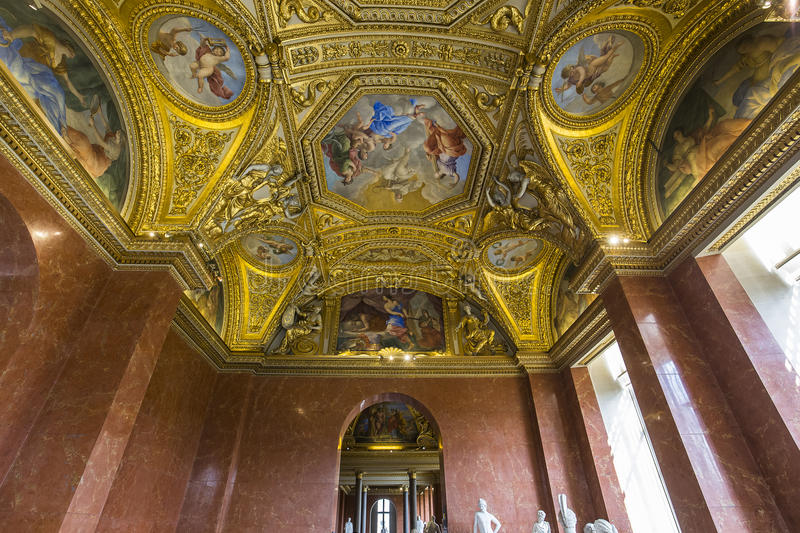 A View In PARIS, FRANCE, MARCH 13, 2017 : Architectural Details Of Anne Of Austria  Apartments, The Louvre Palace, March 13, 2017, In Paris, France