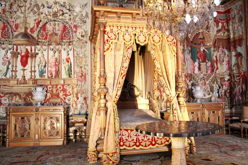 Anne of Austria room in Fontainebleau, France. Chambre room of Anne of Austria. Interior of Castle Fontainebleau, near Paris, France, Europe stock image