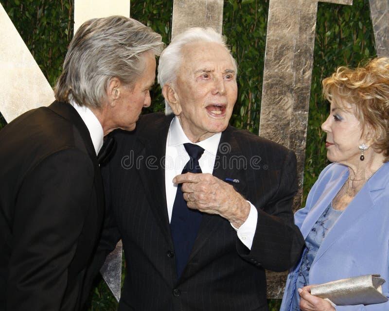 Anne Douglas, Kirk Douglas, Michael Douglas, Vanity Fair fotos de stock royalty free