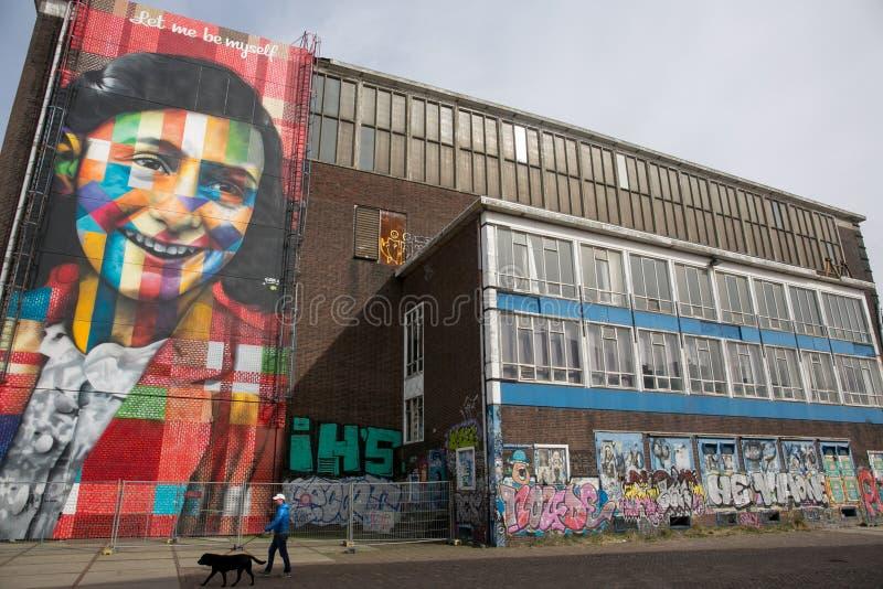 Anne Frank Amsterdam-graffitti stock afbeelding