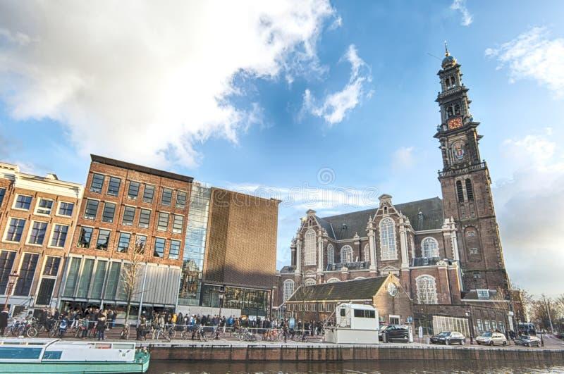 Anne Frank hus och förintelsemuseum i Amsterdam royaltyfri fotografi