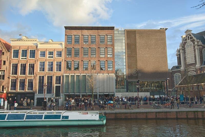 Anne Frank hus och förintelsemuseum i Amsterdam arkivfoto