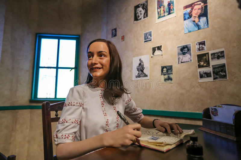 Anne Frank. Anne Frank in the Madame Tussauds museum. Madam Tussaud attraction, many tourists looking for it in Amsterdam. Place an unforgettable holiday! 28/09 stock photos