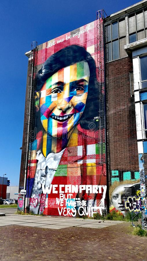Anne Frank mural in Amsterdam royalty free stock photo