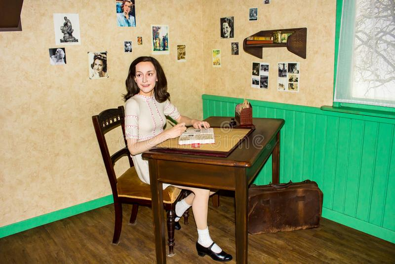 Anne Frank, wosk postać, Madame Tussaud's Amsterdam zdjęcia royalty free