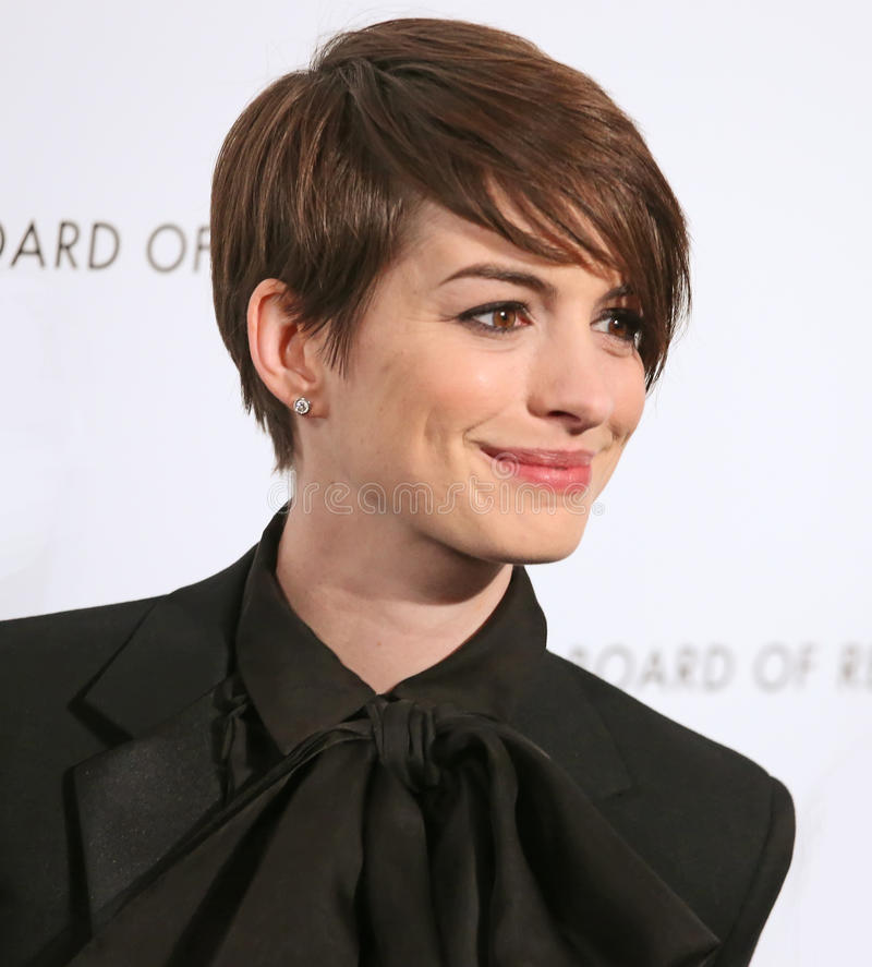 Anne Hathaway. Actress Anne Hathaway arrives on the red carpet of the National Board of Review Gala at Cipriani's Restaurant in mid-town Manhattan on Jan. 8 stock photo