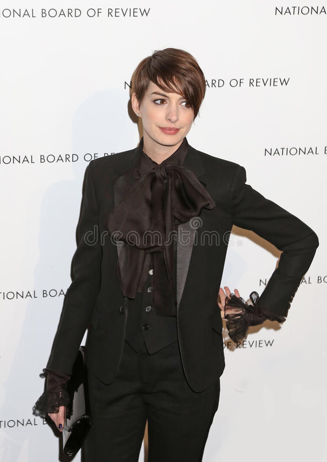 Anne Hathaway. Actress Anne Hathaway arrives on the red carpet of the National Board of Review Gala at Cipriani's Restaurant in mid-town Manhattan on Jan. 8 stock photography